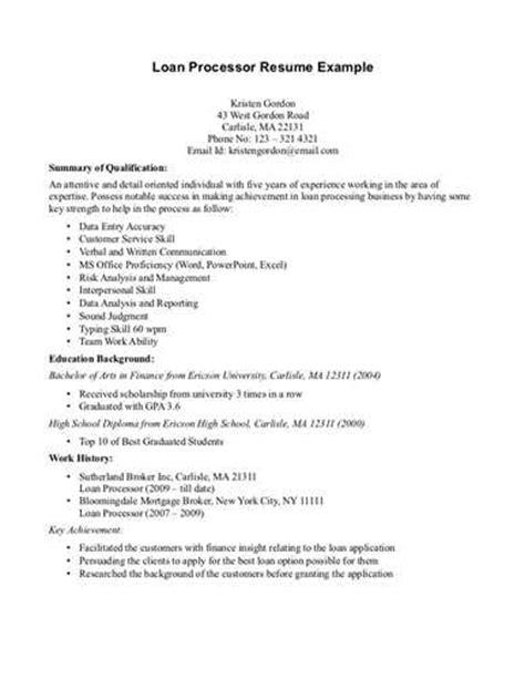 Auto Loan Processor Resume by Loan Processor Resume Sles Resume Format 2017
