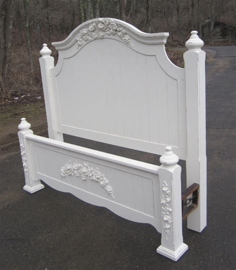 white shabby chic beds corner cabinets painted white with rose appliques
