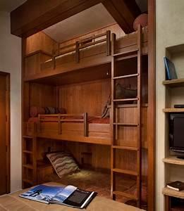 Denver, Hemnes, Queen, Bed, Bedroom, Contemporary, With, Built, In, Shelves, Bunk, Beds, Warm, Neutral, Bedding