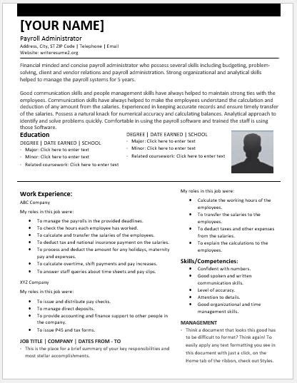 payroll administrator resumes for ms word resume templates