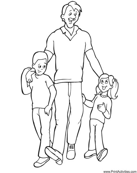Father's Day Coloring Page Dad With Kids