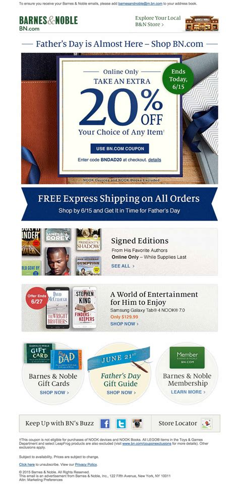How To Get A Barnes And Noble Account by Barnes Noble Fathers Day Email Html Email Gallery