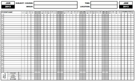 printable attendance sheet