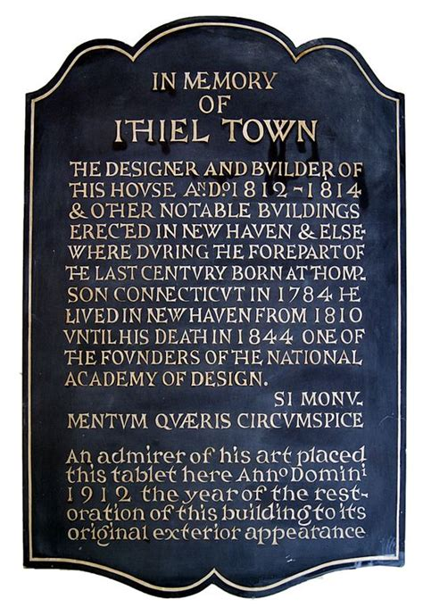 File:Ithiel Town memorial plaque in the Center Church on ...