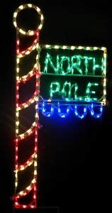 christmas north pole flag sign outdoor led lighted decoration steel wireframe ebay