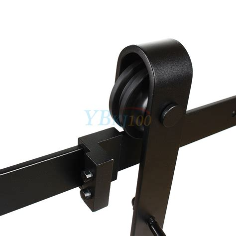 Sliding Banister by 6 6 Ft Black Carbon Steel Slide Sliding Barn Door Hardware