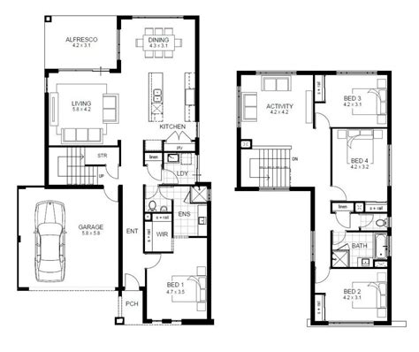 different house plans 4 bedroom 2 house floor plans unique two 4