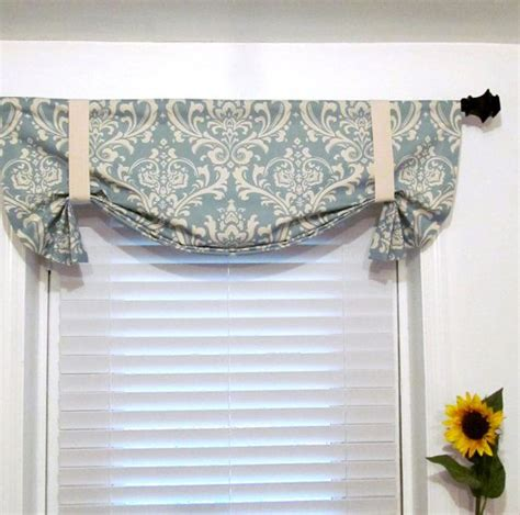 tie up curtain valance blue by