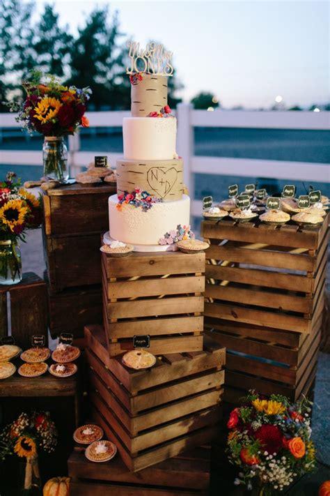 rustic cake display  crates  mini pies legends