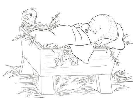 baby jesus   manger coloring page  printable