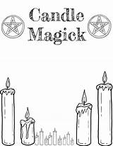 Grimoire Coloring Printable Wiccan Shadows Witch Candle Magick sketch template