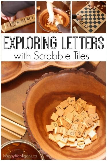 scrabble tiles  learning letter activities