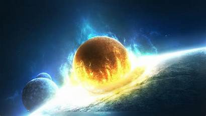 Cosmos Planet Collision Backgrounds Desktop Wallpapers Mobile