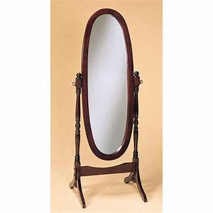 Cherry Finish Cheval Mirror Full Length Solid Wood Floor