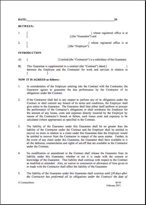 parent company guarantee template contractstore