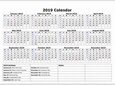 Download Printable A4 Yearly Calendar 2019 with USA