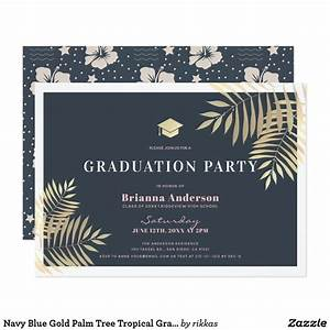 Navy Blue Gold Palm Tree Tropical Graduation Party