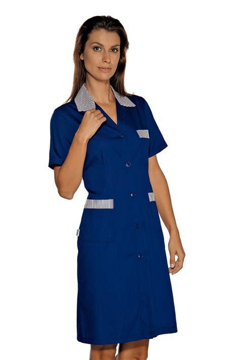 blouse femme de chambre hotellerie blouse de travail manches courtes positano bleu é bleu
