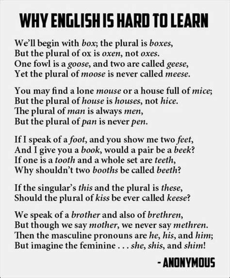 a poem about why the language is so to learn