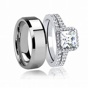 his hers beautiful 3pcs tungsten men39s matching band With tungsten wedding rings for women