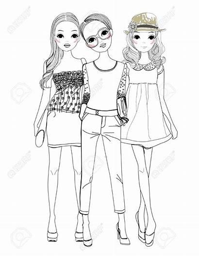 Three Cartoon Barbie Pretty Modemaedchen Coloriage Colorier
