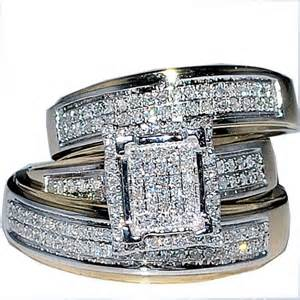 his and engagement rings his wedding rings set trio 10k yellow gold