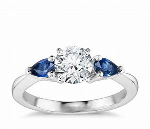 classic pear shaped sapphire engagement ring in 18k white With wedding ring sapphire