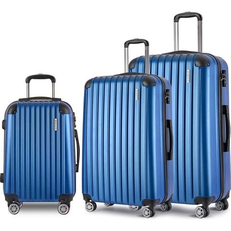 3pc shell travel luggage with tsa lock in blue buy
