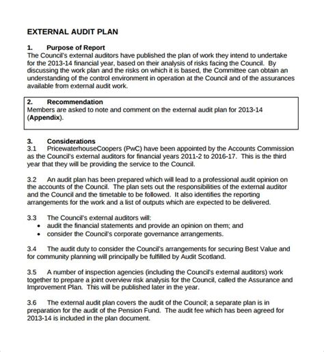 sample audit plan template   documents   word
