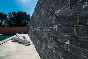 parement mural en pierre naturelle noire carrelage et With habiller un mur exterieur en bois 17 carrelage salle de bain pierre naturelle exterieur