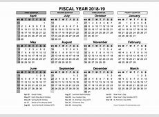 2018 Fiscal Year Calendar in Word PDF Excel Format