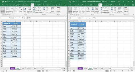 view multiple worksheets  excel  microsoft