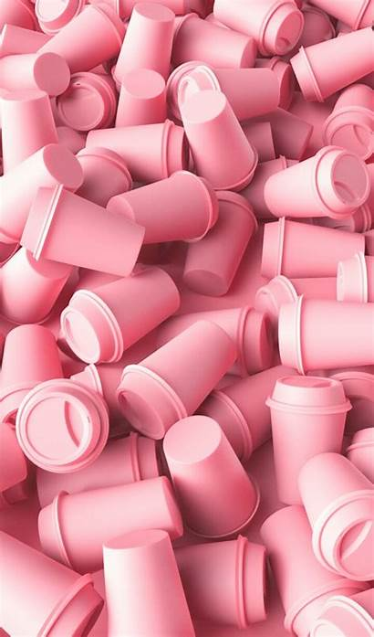 Pink Pastel Coffee Background Heart 3d Computer
