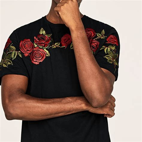 zara floral roses embroidered tshirt black from eu s fashion clothes carousell