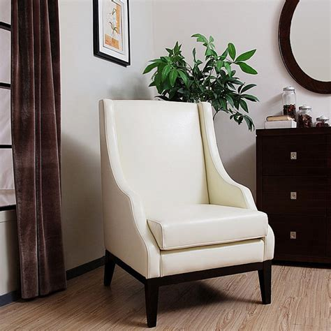 lummi white leather high  chair contemporary armchairs  accent chairs  overstockcom