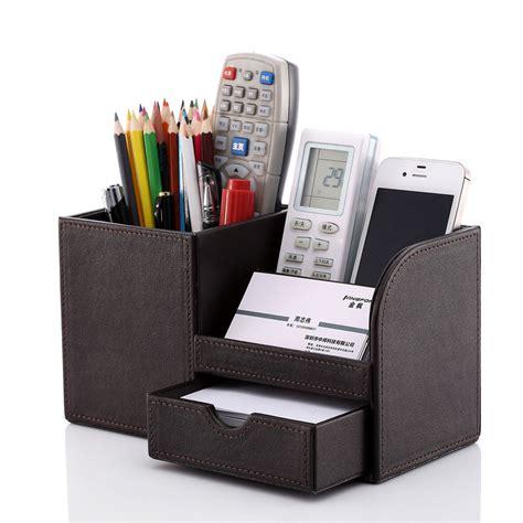 Kingfom Office Desktop Organizer Pu Leather Pen Storage