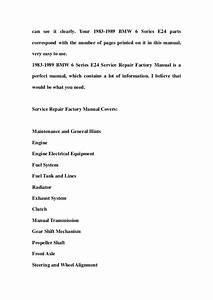 1983 1989 Bmw 6 Series E24 Service Repair Factory Manual