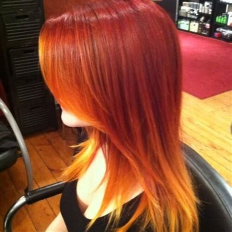 reveal  fiery nature    red ombre hair