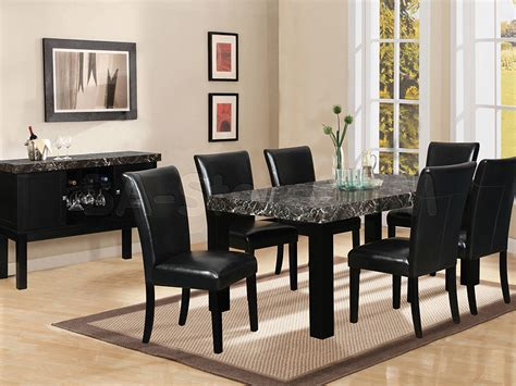 Contemporary Dining Room with Black Marble Height Dining
