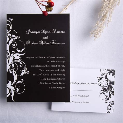 black and white wedding invitations classic black and white damask wedding invitations ewi023 as low as 0 94