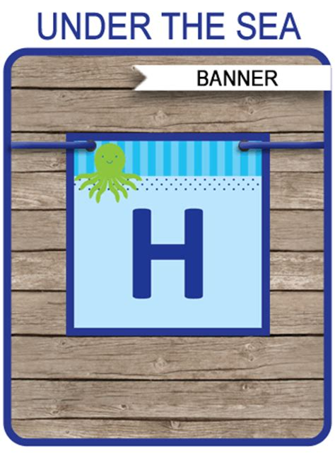 sea party banner template birthday banner