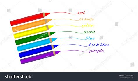 write in color colored pencils rainbow color write name stock vector