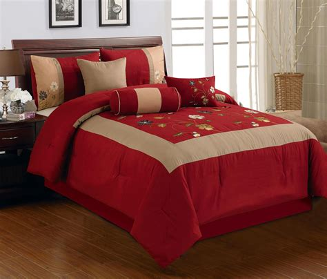 Red Comforter Sets Full Minimalist Bedroom With 7 Pieces