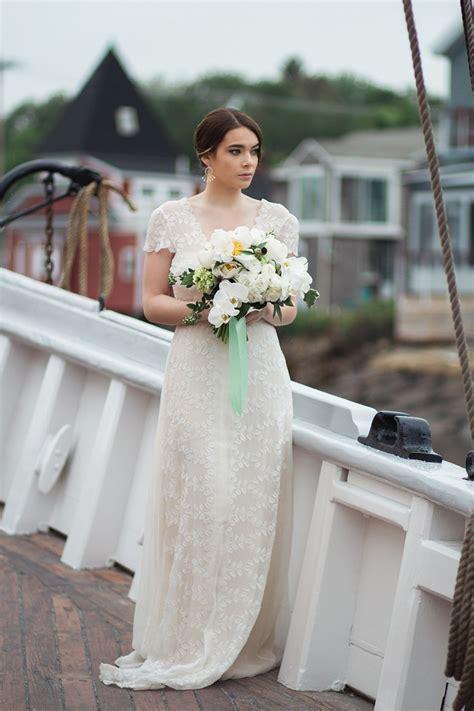 nautical wedding inspiration  gorgeous cap sleeves dress