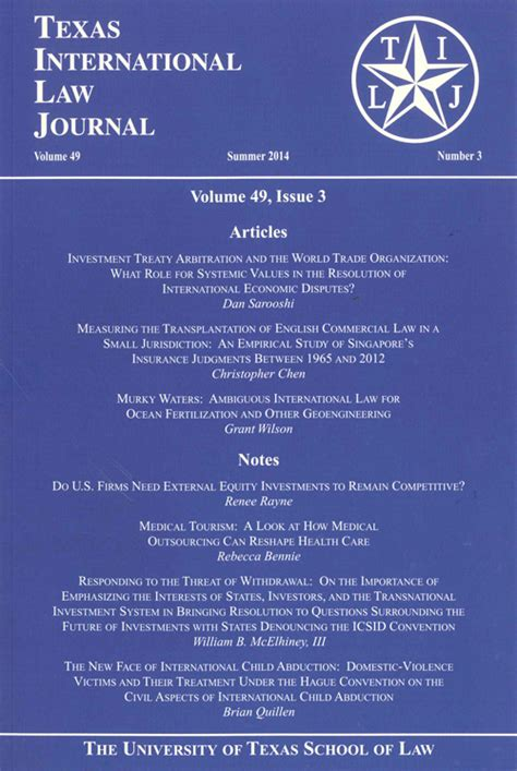 texas international law journal texas law publications