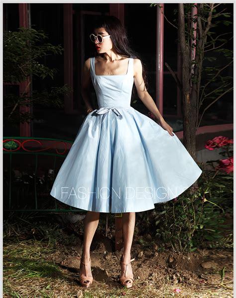 Cotton Dress Baby Blue hepburn inspired summer sleeveless light blue 1950