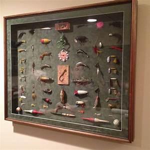 Old fishing lures wall art lure display