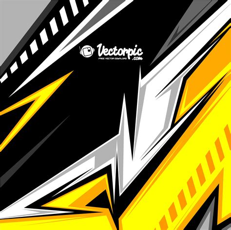 Abstract Racing Stripes Background With Yellow And Black
