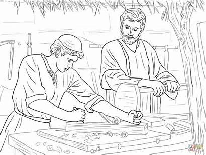 Jesus Carpenter Christ Son Coloring Pages Printable