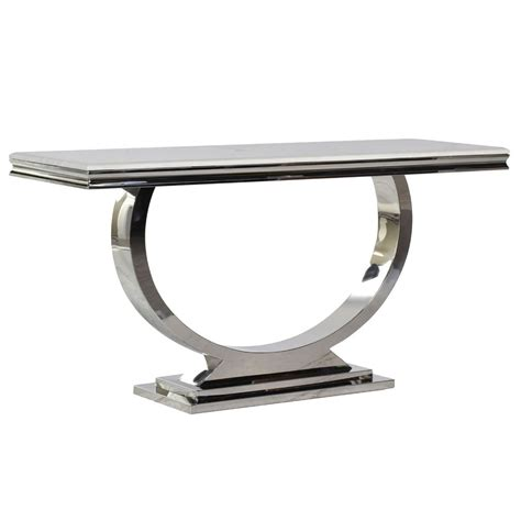 Concrete Table Lamps by Cream Marble And Chrome U Shaped Console Shropshire Design